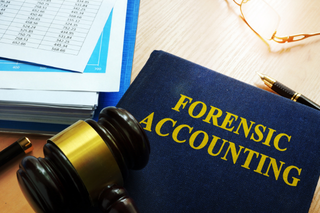 A forensic accounting book sits on a table next to a gavel, and a binder with a spreadsheet of numbers on top.